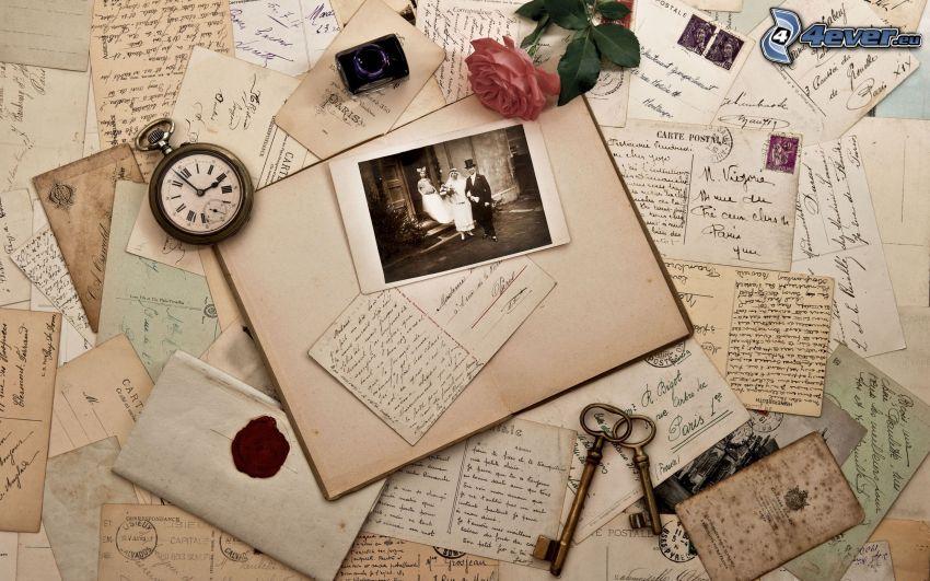 kuvert, post, ros, gammalt foto, vykort, klocka, nycklar