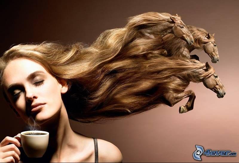 kvinna, hästar, hår, kaffe