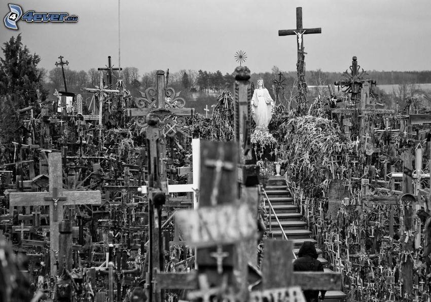 kyrkogård, kors, svart och vitt