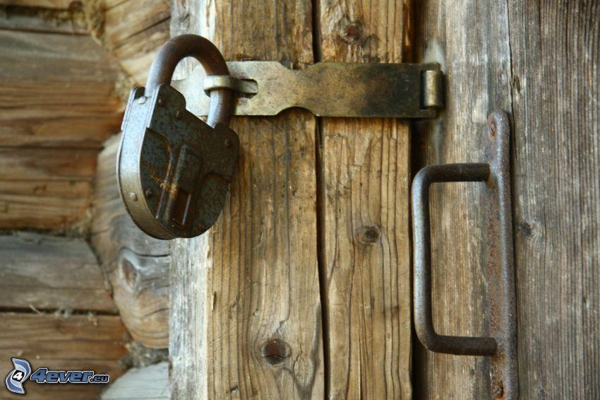 lås, dörr, trä