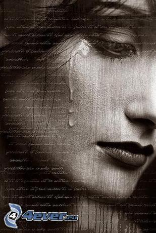 ledsen flicka, kvinnogråt, tårar