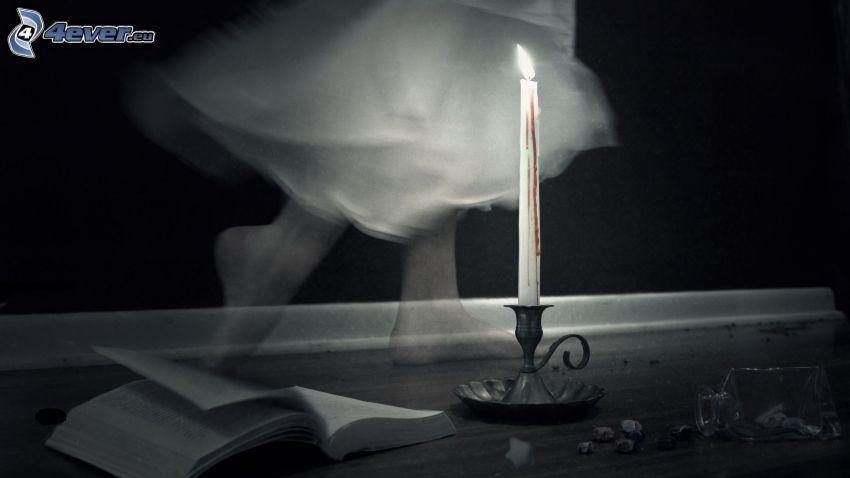 ljus, bok, spöke