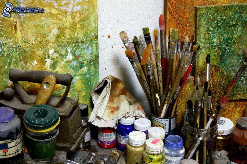 målningsverktyg, penslar, färger