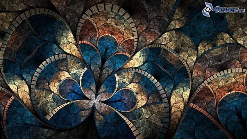 mosaik, blommor