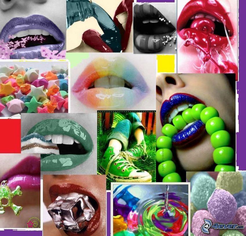 mun, läppar, collage