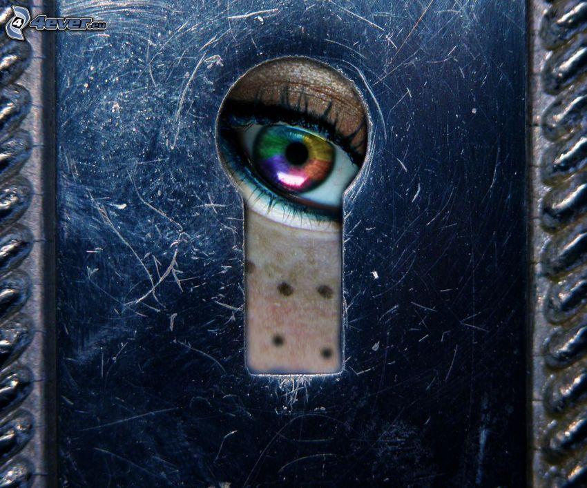nyckelhål, färggrannt öga