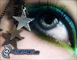 öga, stjärnor, ögonfransar