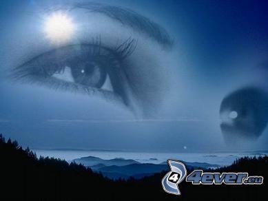 ögon, himmel, sol