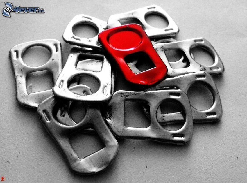 öppnare från plåtburkar, röd färg