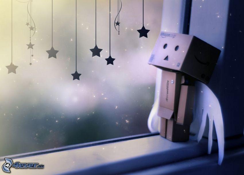pappersrobot, fönster, stjärnor