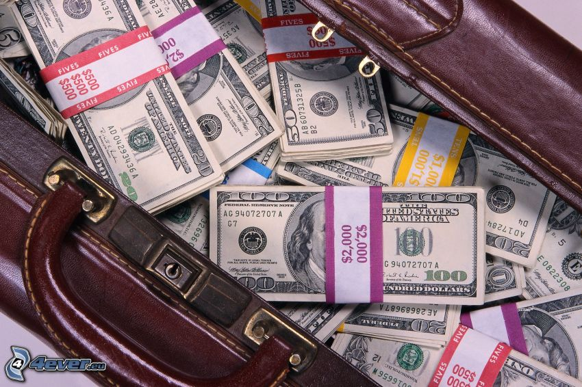pengar, dollar, sedlar, resväska