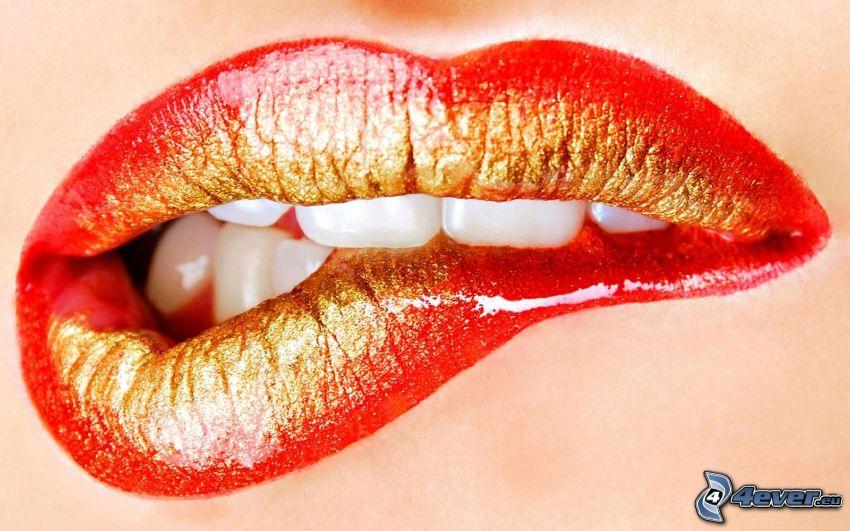 röda läppar, vita tänder, sminkade läppar