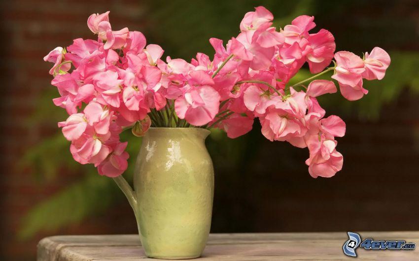 rosa blommor, blommor i vas
