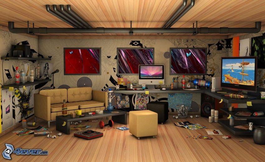 rum, skärmar, oreda
