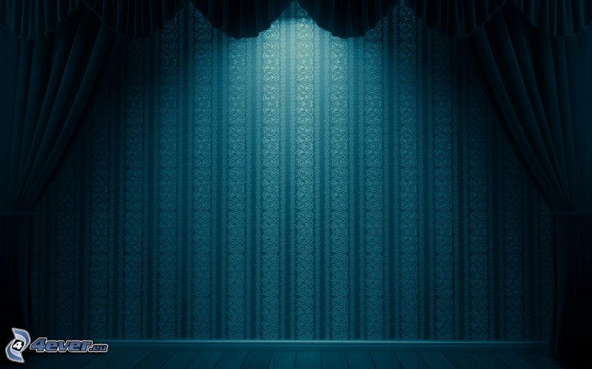 scen, gardin, vägg, blå bakgrund