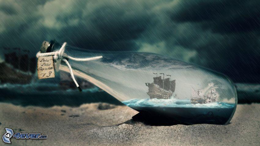 segelfartyg i flaska, stormigt hav, storm, mörka moln
