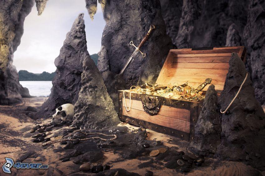 skatt, kista, guld, smycken, dödskalle, klippor, svärd