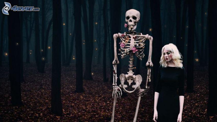 skelett, lik, mörk skog