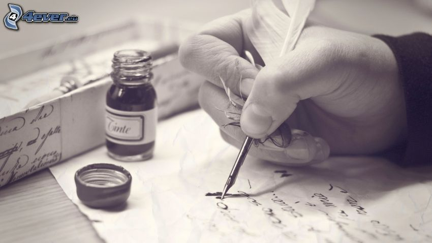 skrivstil, hand, bläck, fjäder, svartvitt foto