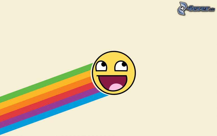 smiley, färggrann regnbåge