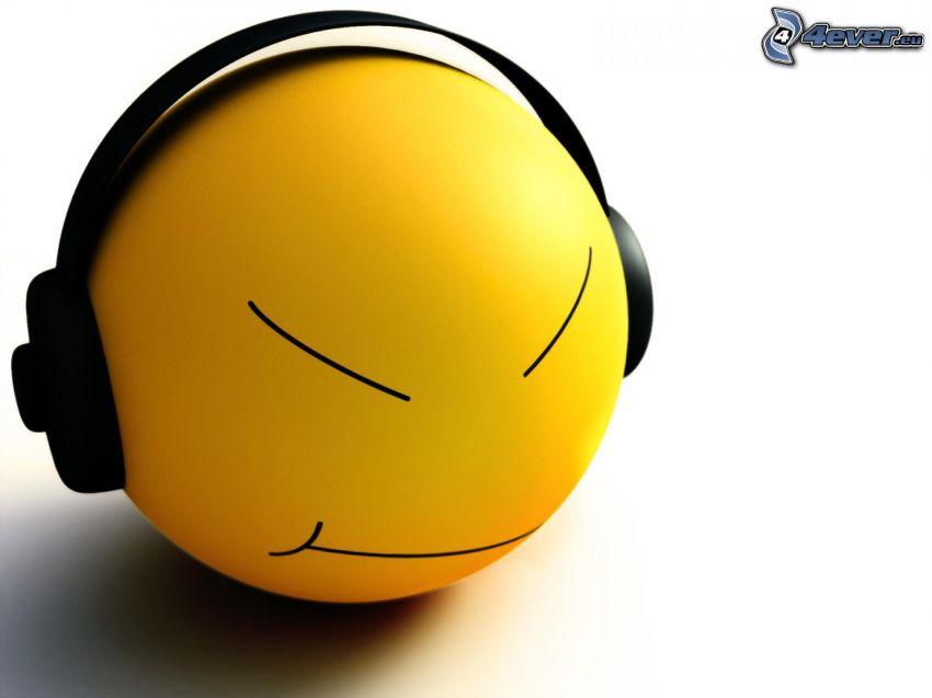 smiley, hörlurar, boll, 3D