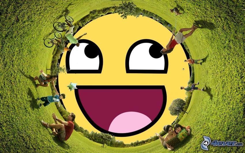 smiley, människor, gräs
