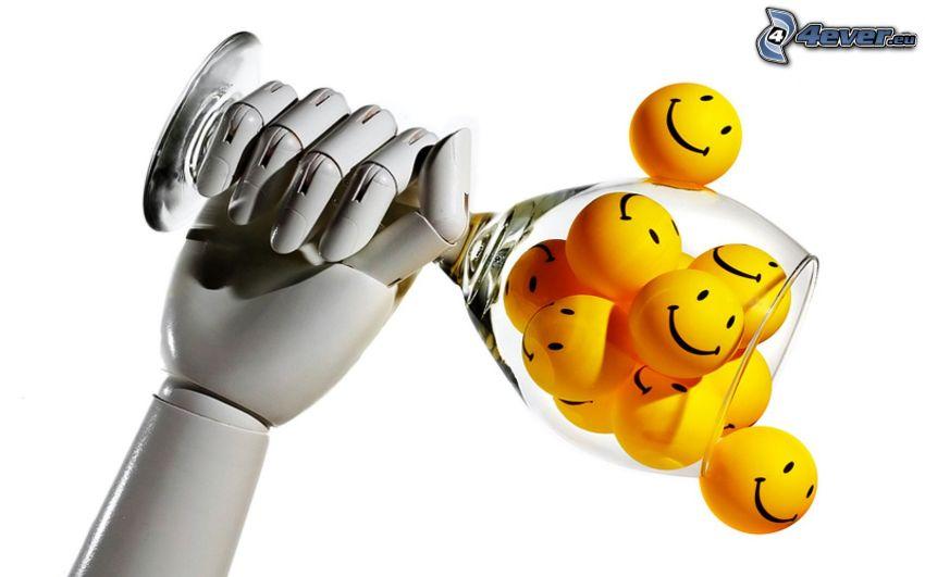 smileys, glas, mekanisk arm