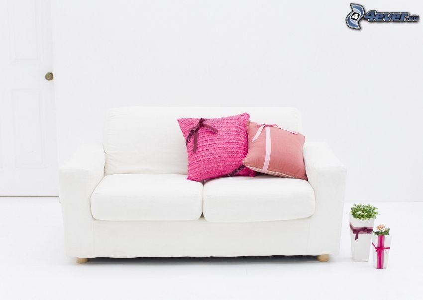 soffa, kuddar