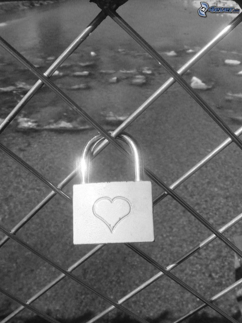 stängsel, slott, hjärta