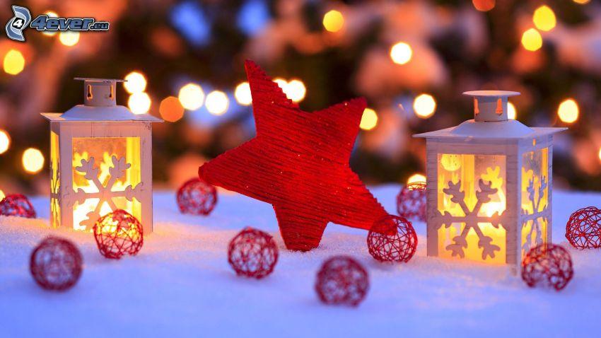 stjärna, lykta, kulor, snö