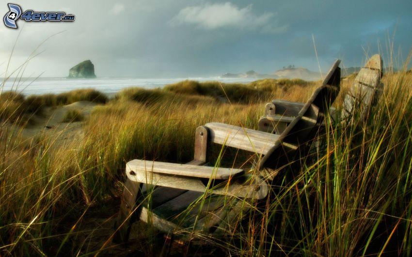 stolar, gräs, hav