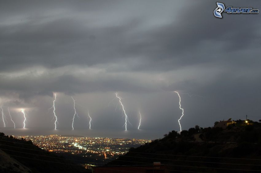 storm, blixt, stad