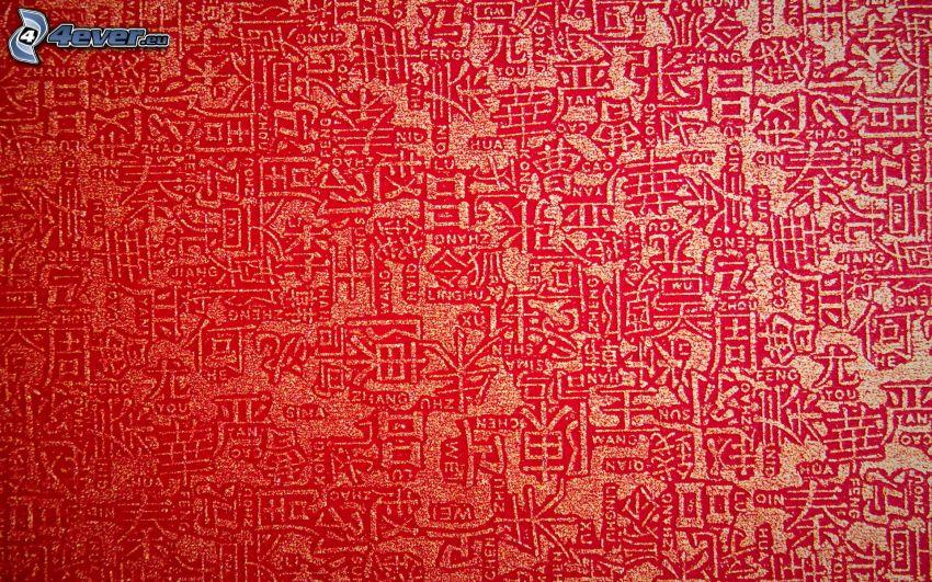 tapet, kinesiska tecken, röd bakgrund
