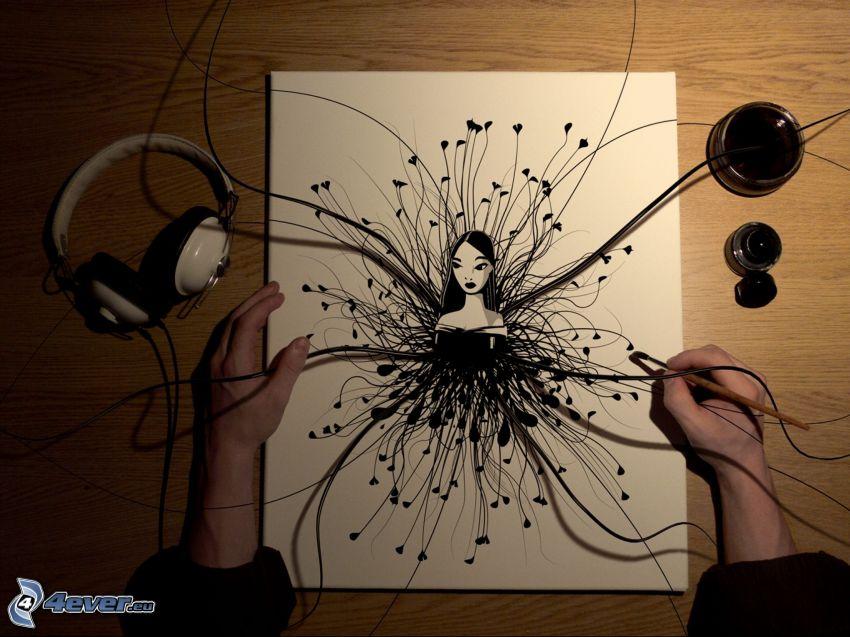 tecknad kvinna, teckning