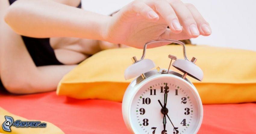 väckarklocka, hand, sömn