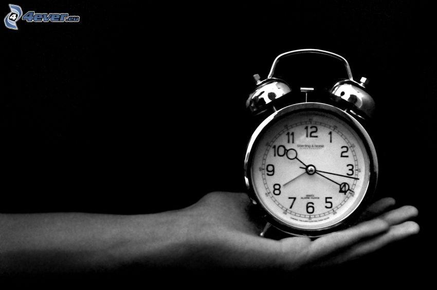 väckarklocka, hand, svartvitt foto
