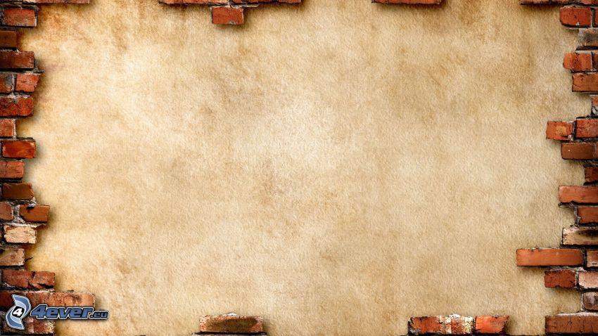 vägg, tegelstenar