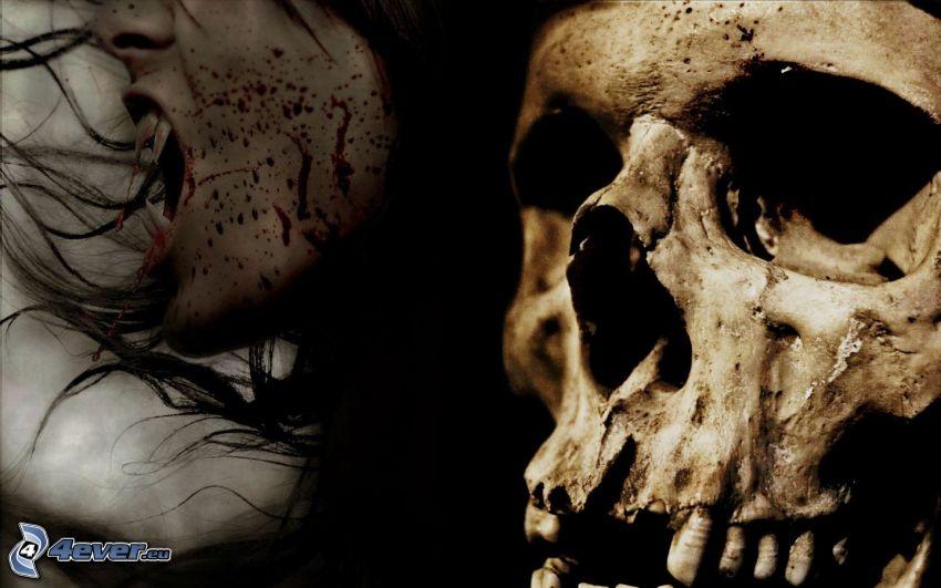 vampyr, dödskalle