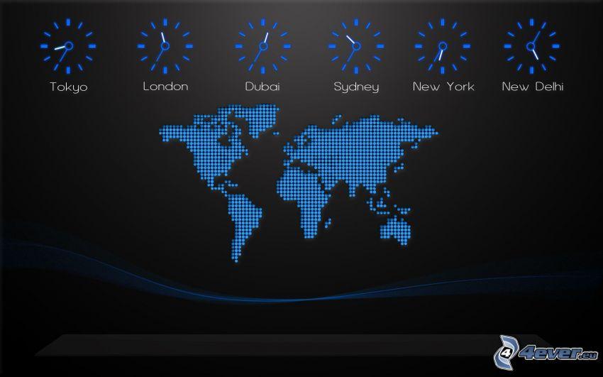 världskarta, klocka, tid
