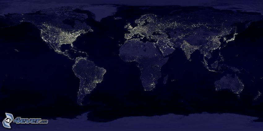 världskarta, natt, belysning