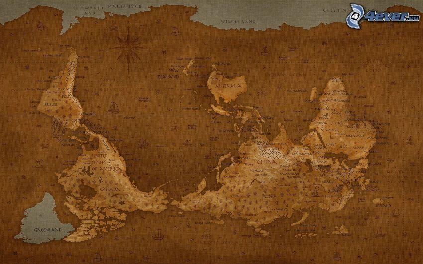 världskarta, tvärtom
