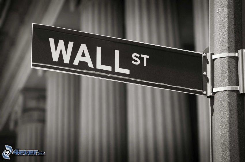 Wall Street, skylt, svartvitt foto