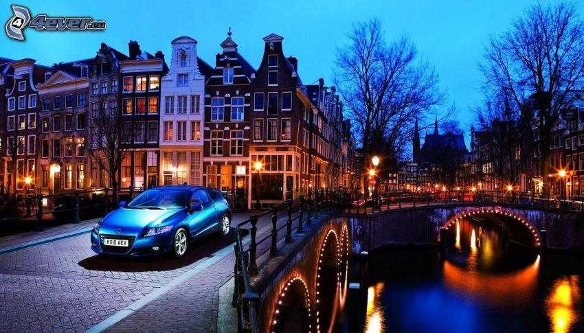 Amsterdam, Honda, kvällsstad, bro, hus, belysning