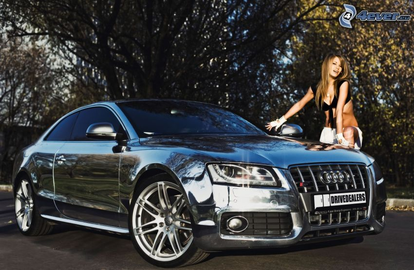 Audi A5, krom, sexig kvinna