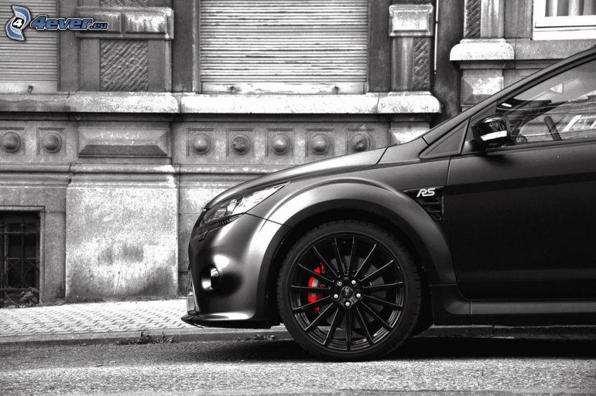 bil, hjul, svartvitt foto