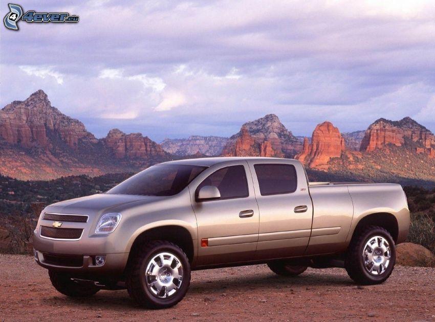 Chevrolet, pickup truck, klippiga berg