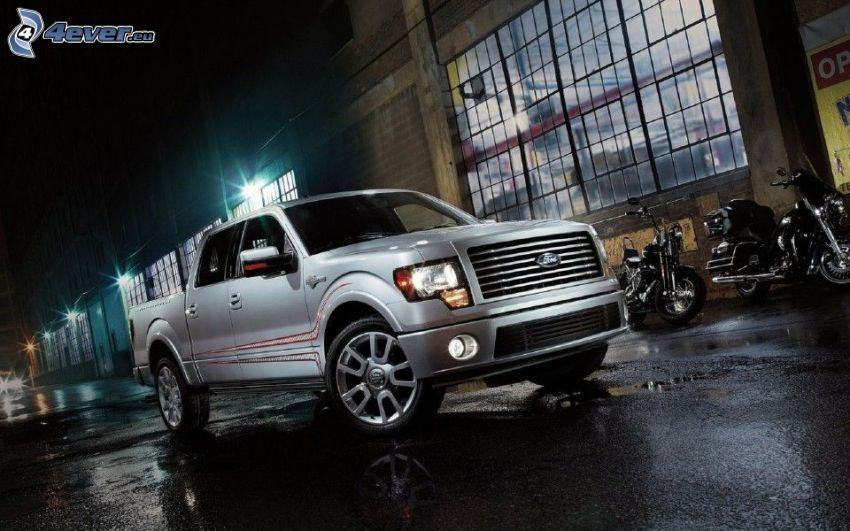Ford F150 raptor, pickup truck, byggnad, natt