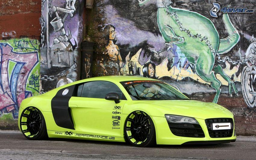 Audi R8, lowrider, graffiti