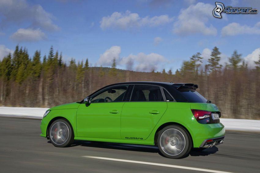 Audi S1, torra träd, fart