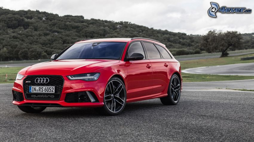 Audi S6, väg, skog